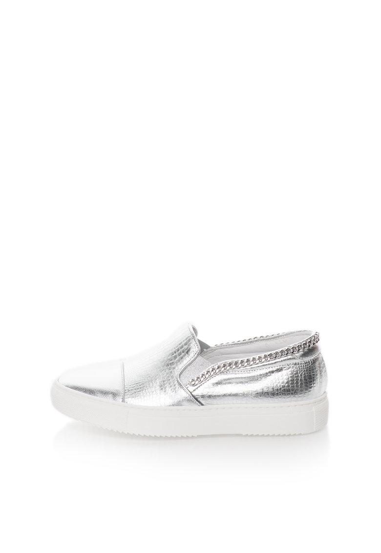 Zee Lane Pantofi slip-on argintii de piele cu aplicatie din lant