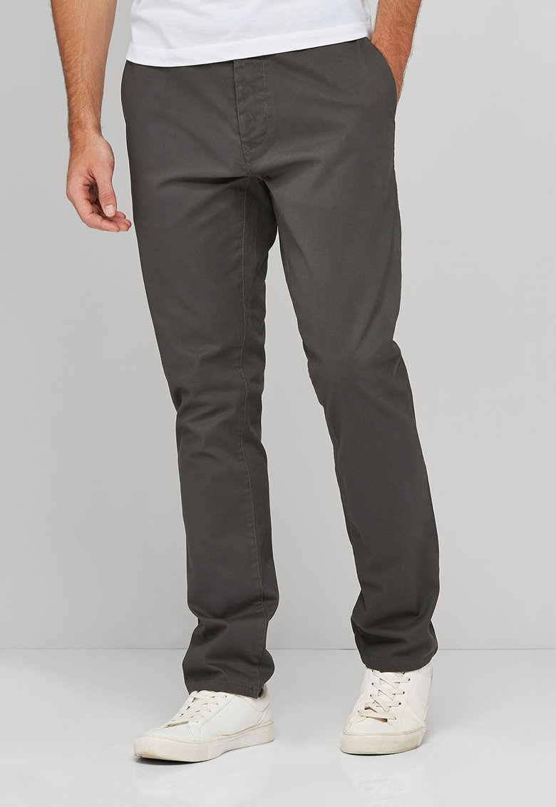 Pantaloni chino slim fit gri carbune