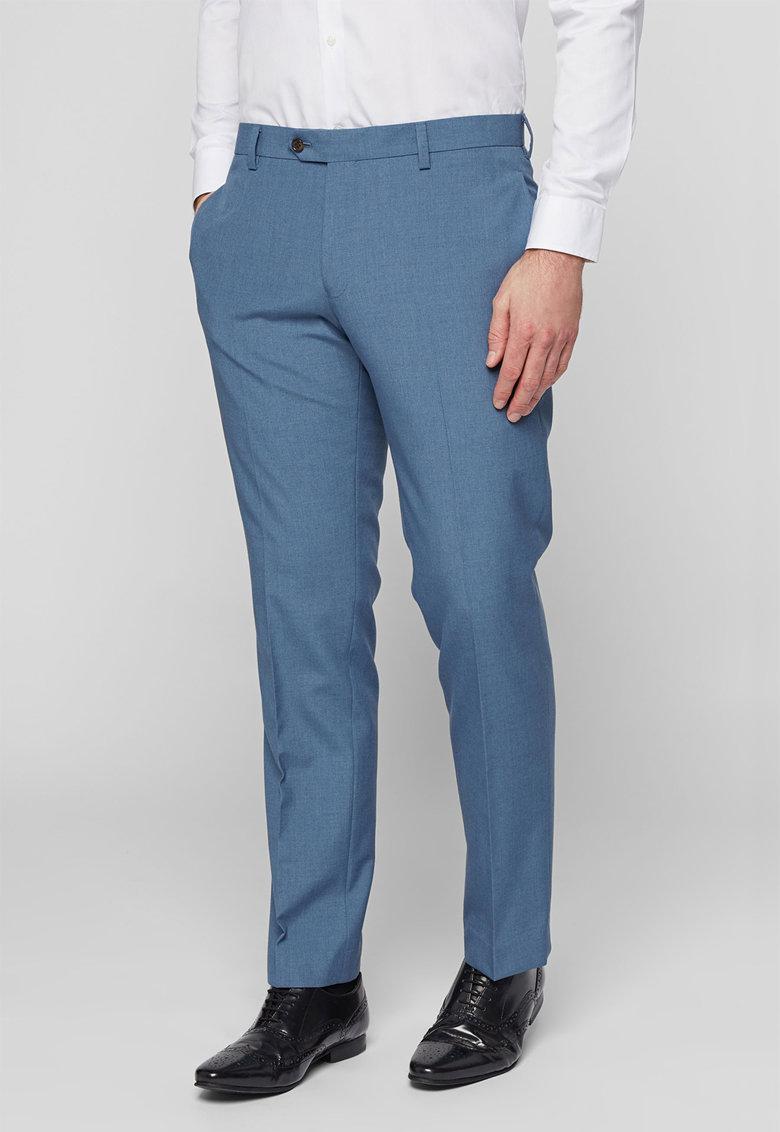 Pantaloni eleganti slim fit albastru melange de la NEXT