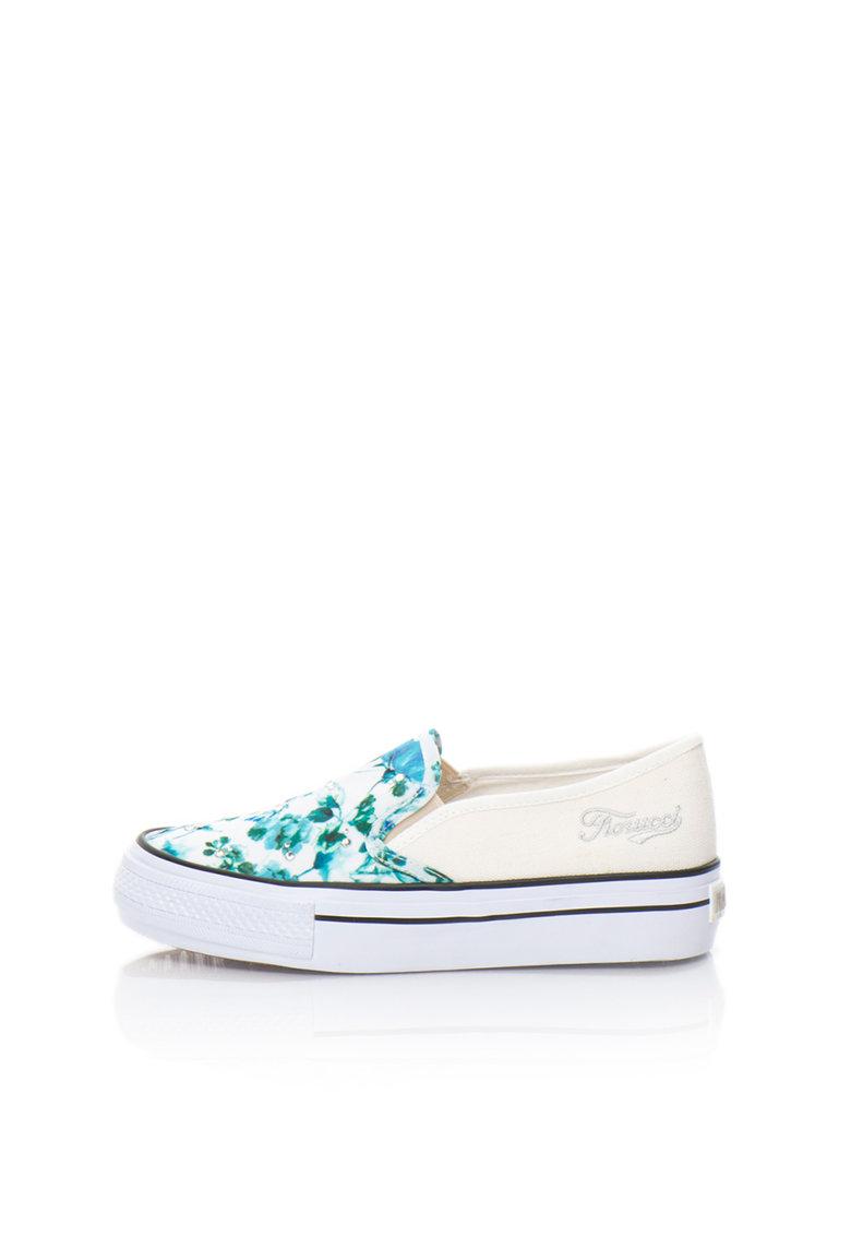 Pantofi slip-on alb cu albastru si model floral