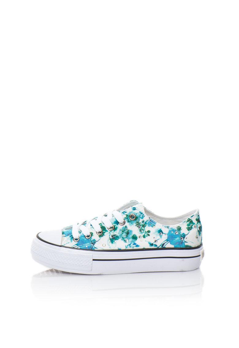 Fiorucci Tenisi flatform albastru si alb cu model floral