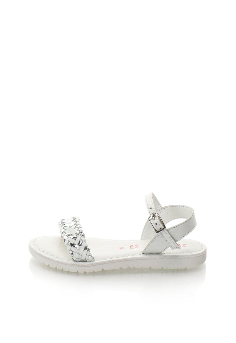 Sandale alb cu argintiu de piele Alba