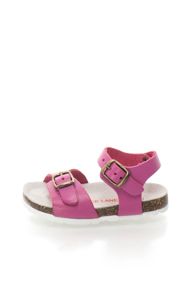 Sandale roz zmeuriu de piele Alex