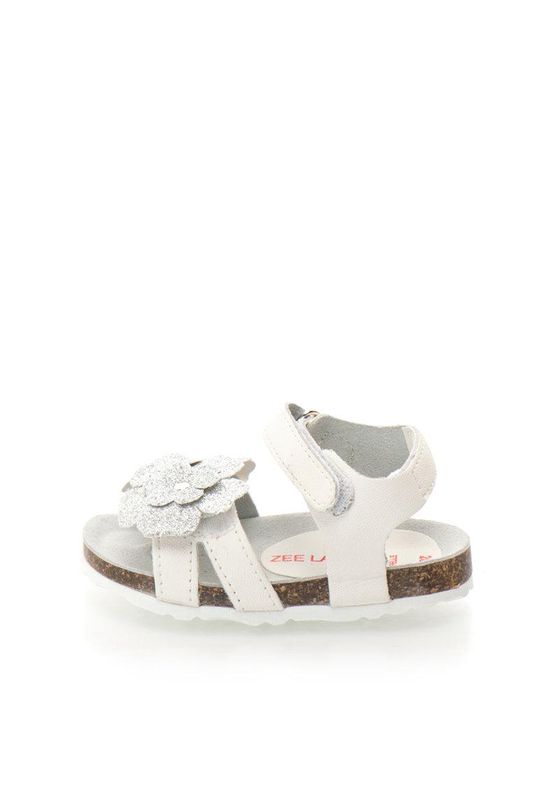Zee Lane Sandale alb cu argintiu cu aplicatie florala Ariel