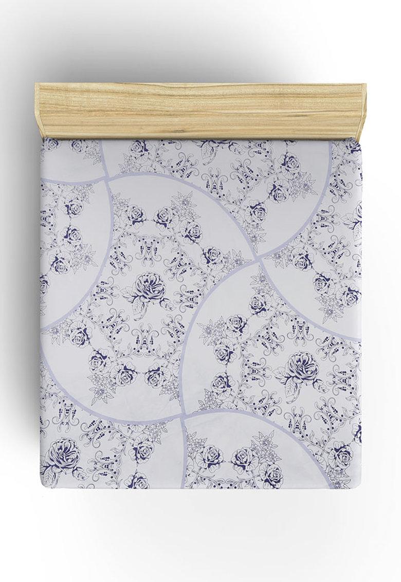 Leunelle Cearsaf cu elastic alb si violet cu model floral