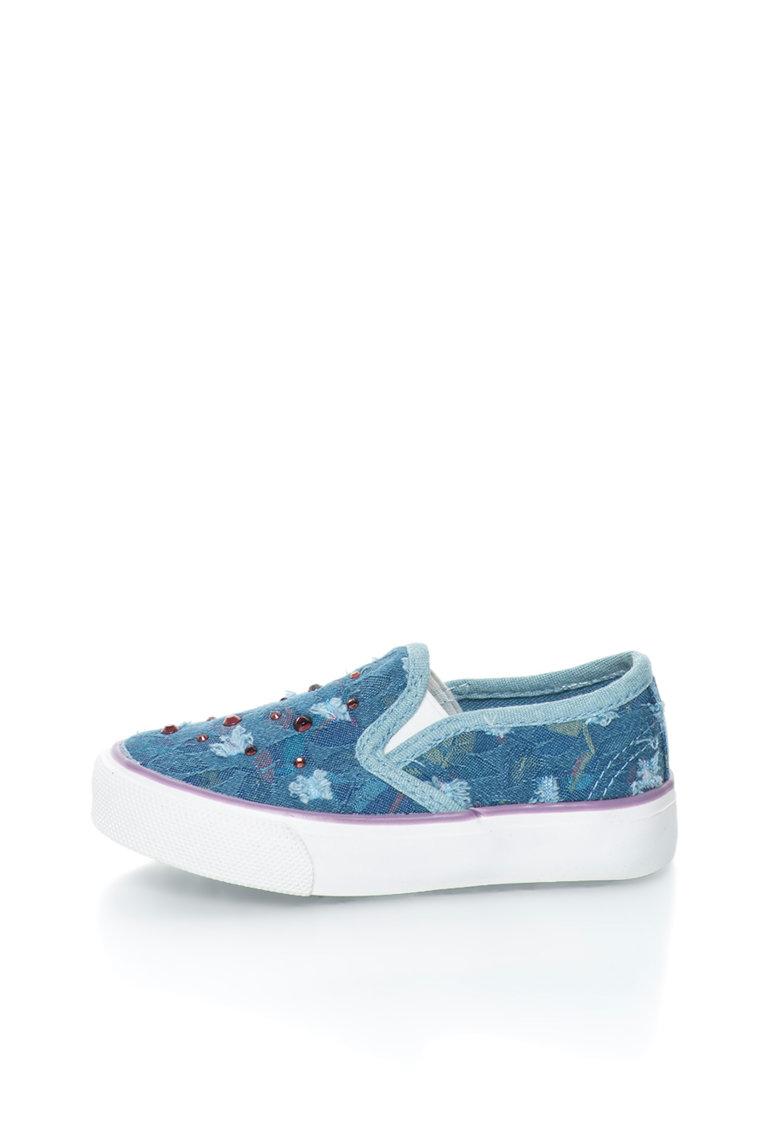 Pantofi Slip-on Albastri Cu Strasuri Violet