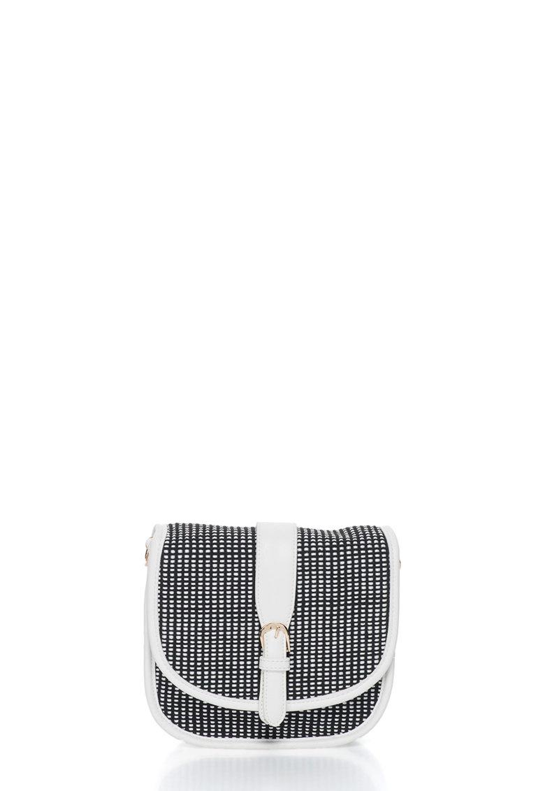 Geanta saddle alb cu negru cu aspect tesut Hana