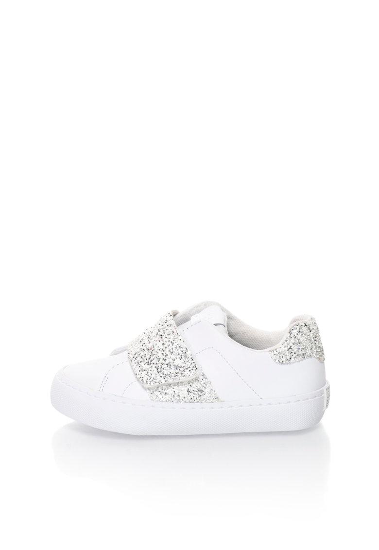Pantofi sport alb si argintiu stralucitori Bandelle de la Gioseppo