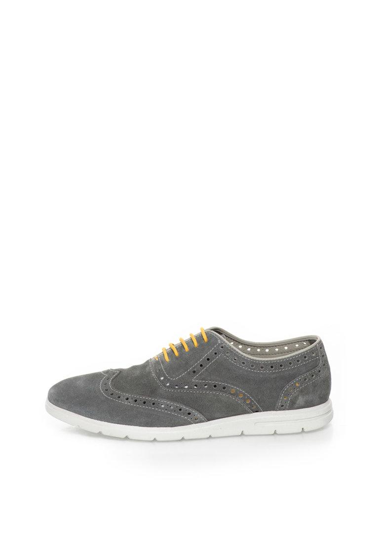 Gioseppo Pantofi brogue gri de piele intoarsa cu perforatii Cardinale