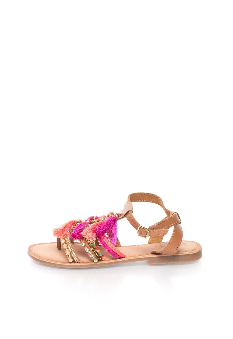 Sandale multicolore de piele cu decoratiuni Nambi