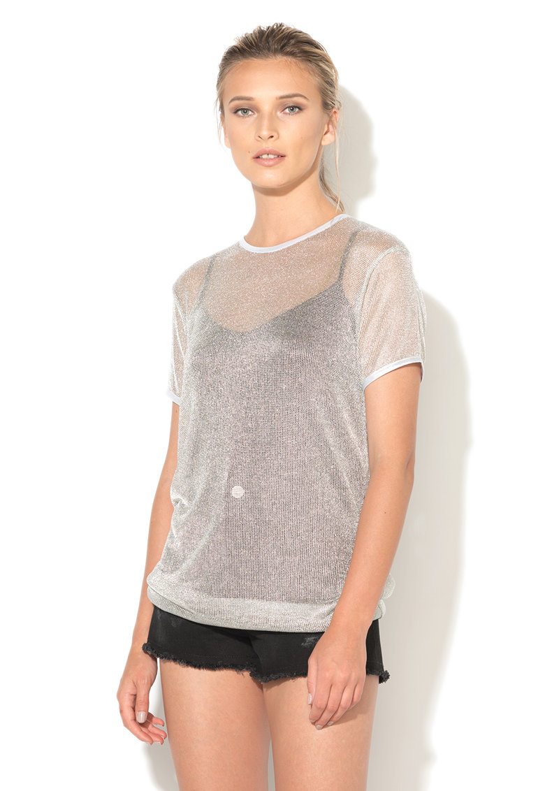 Tricou lung argintiu transparent Paule