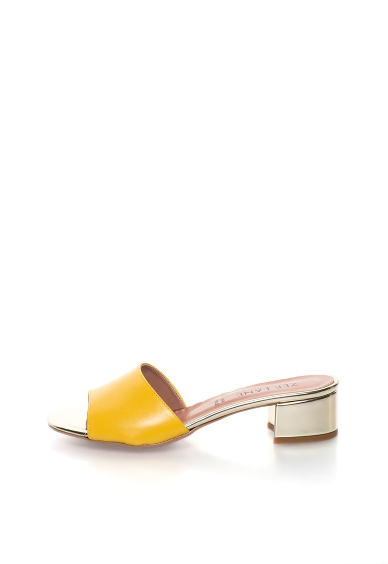Zee Lane Sandale slip-on galben cu auriu de piele Candy