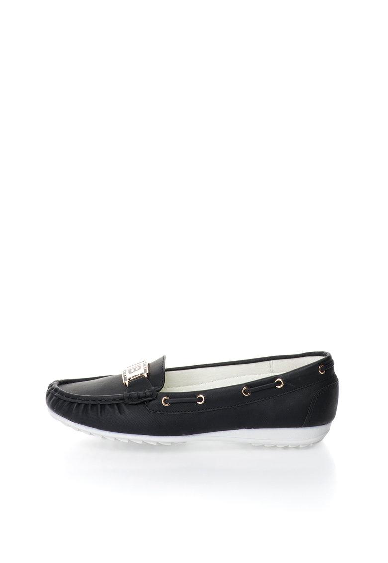 Pantofi boat negri cu detalii aurii