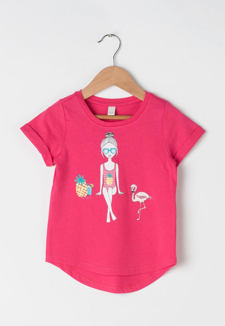 Esprit Tricou roz cu imprimeu grafic