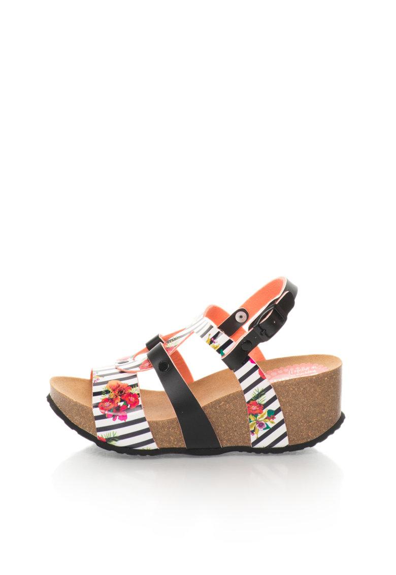 DESIGUAL Sandale wedge negru si alb cu model floral
