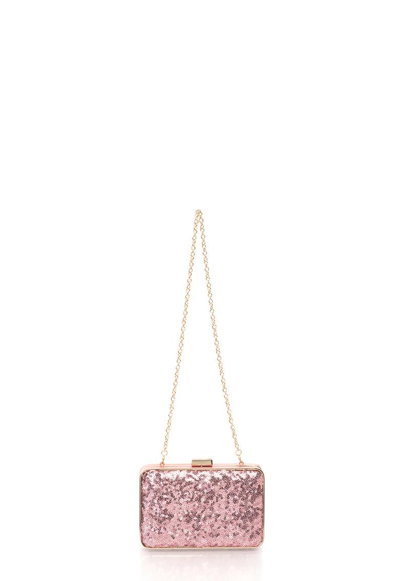 COCCINELLE Geanta plic minaudière roz cu paiete