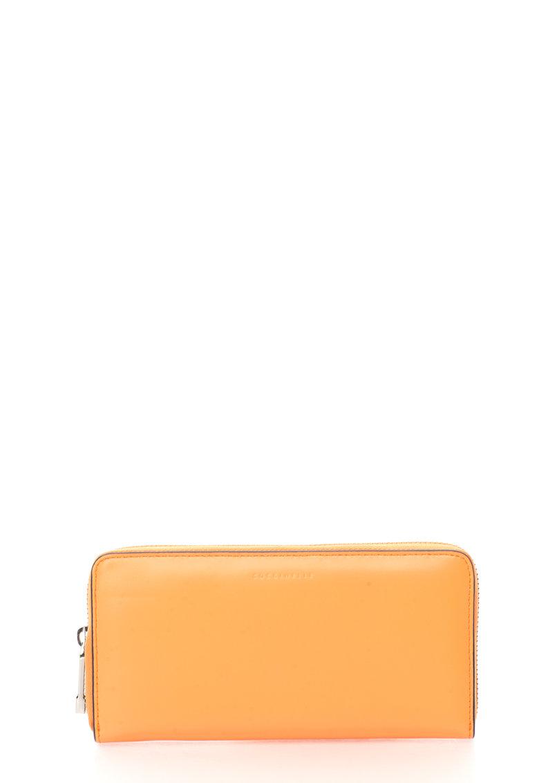 COCCINELLE Portofel oranj de piele cu fermoar