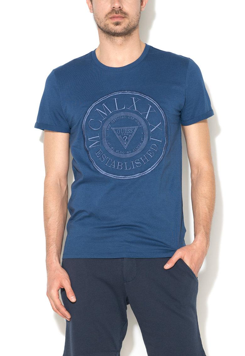 Tricou bleumarin slim fit cu text in relief