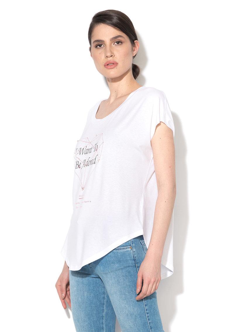 Tricou alb cu imprimeu frontal si strasuri