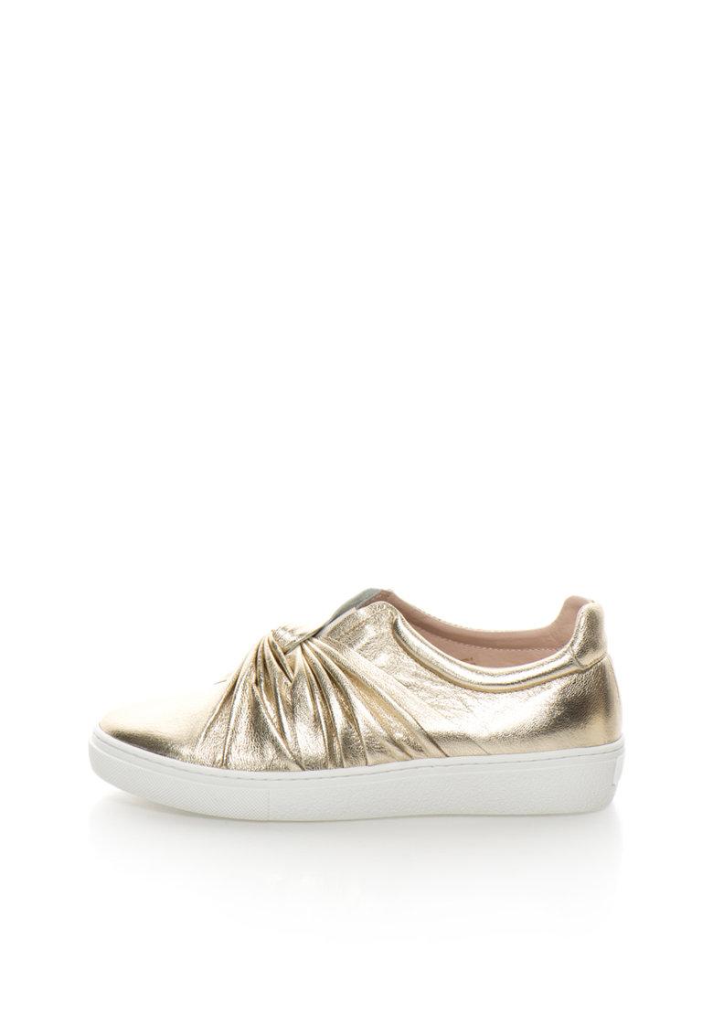 Pantofi slip-on aurii de piele cu design innodat