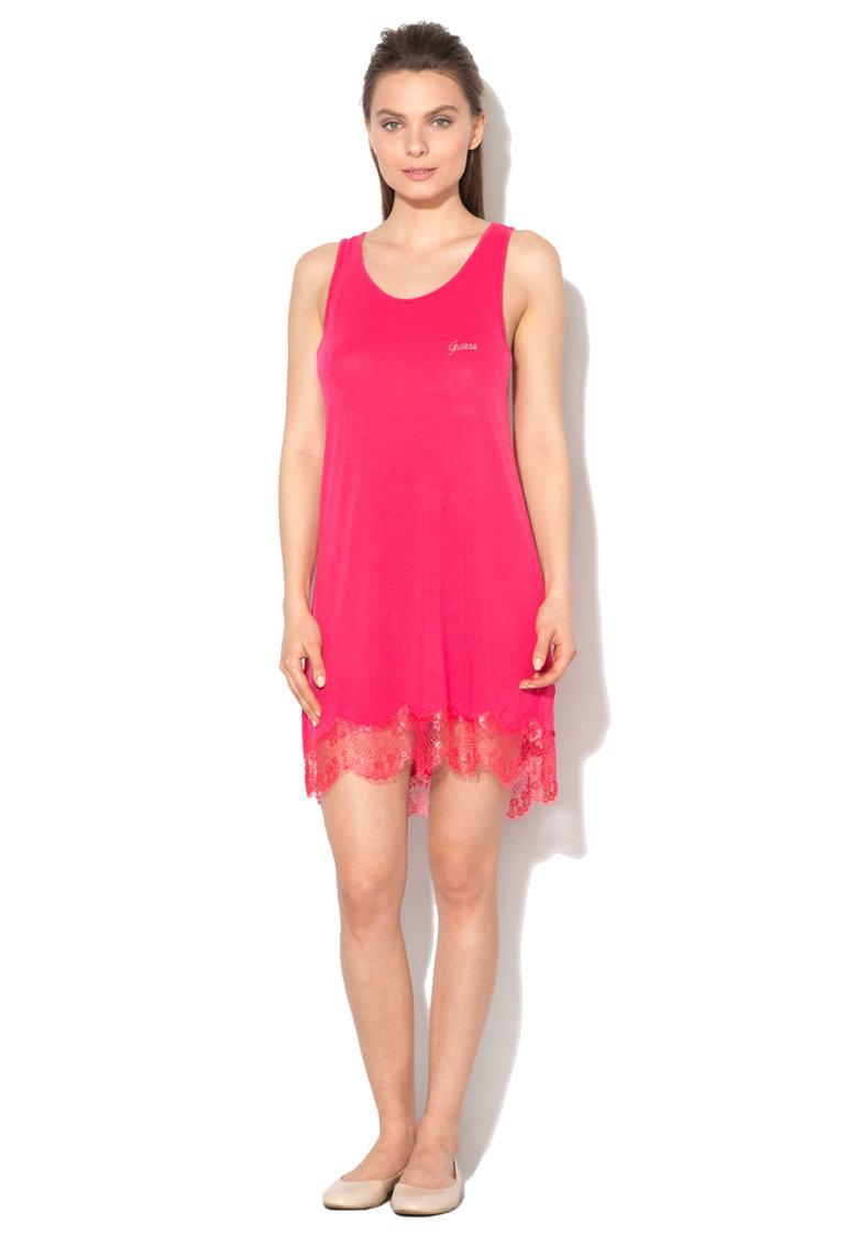 GUESS Camasa de noapte roz inchis cu garnituri de dantela