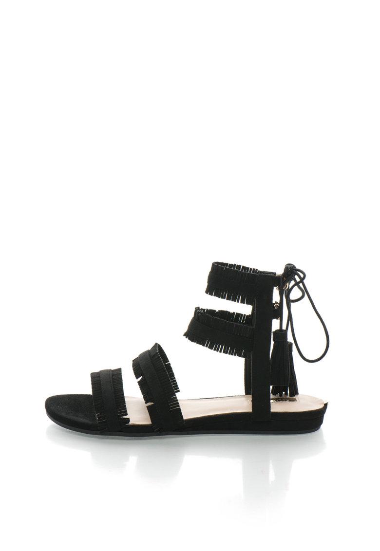 GUESS Sandale negre cu franjuri