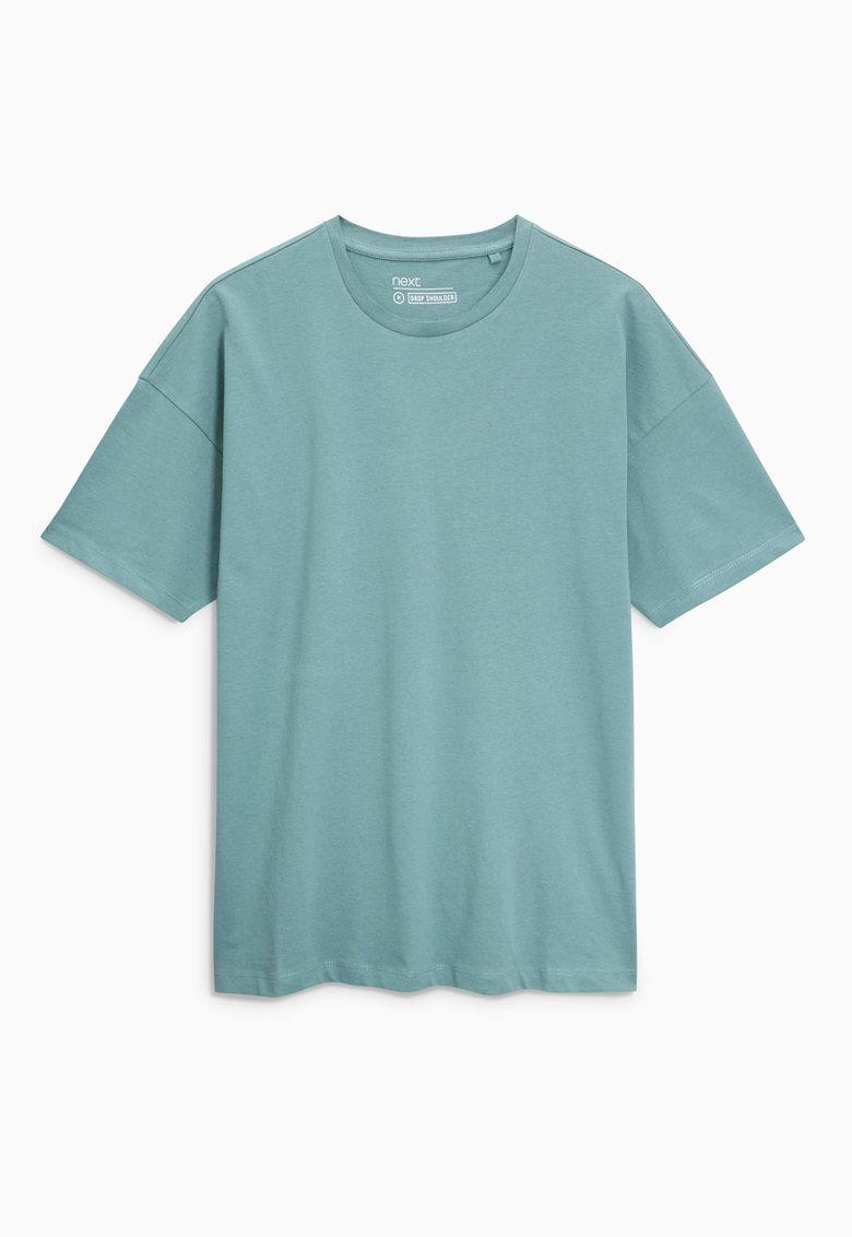 NEXT Tricou albastru teal cu decolteu la baza gatului