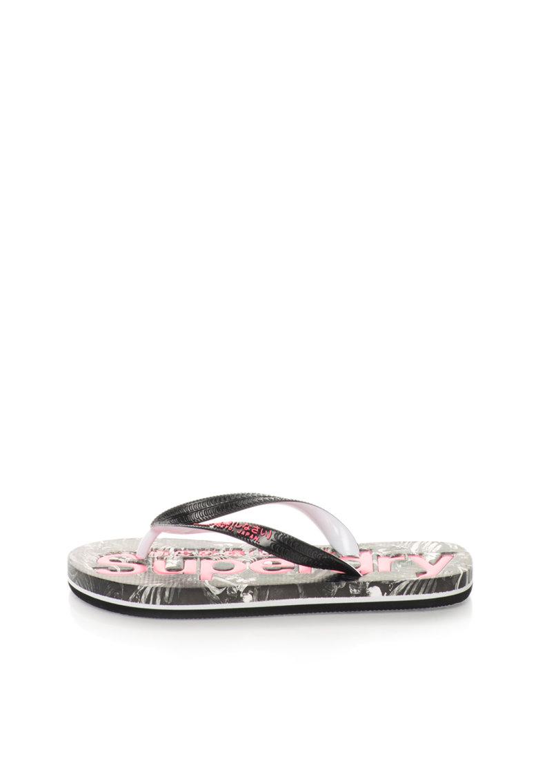 Superdry Papuci flip-flop negru cu alb AOP
