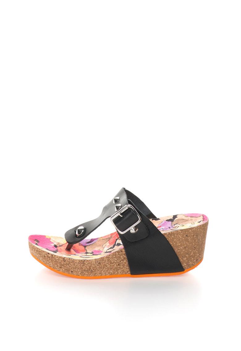 Oakoui Papuci flip-flop wedge negri de piele cu tinte