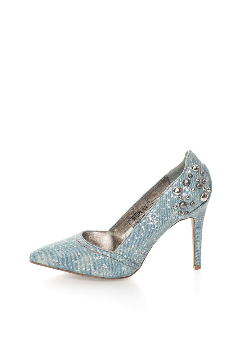 Replay Pantofi bleu din denim cu toc stiletto Colline