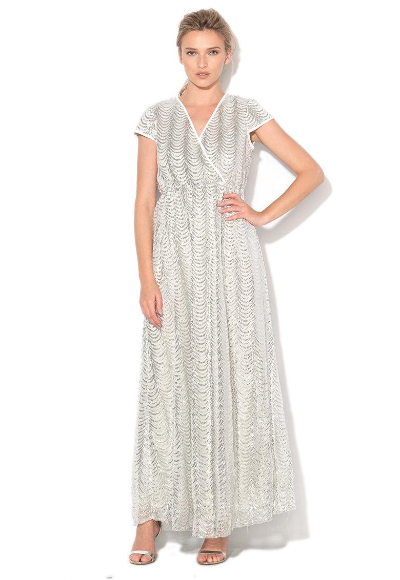 Rochie lunga argintie cu paiete