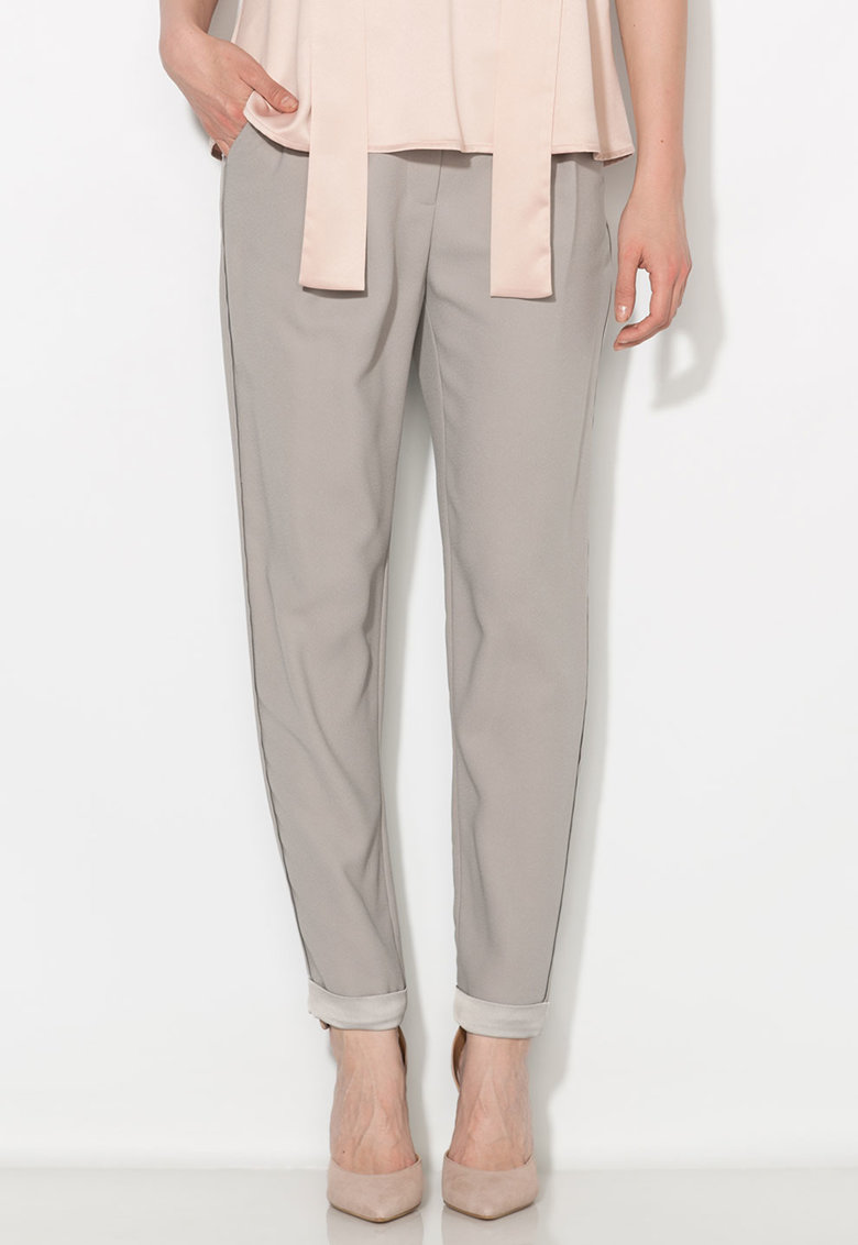 Zee Lane Collection Pantaloni conici crop gri cenusa