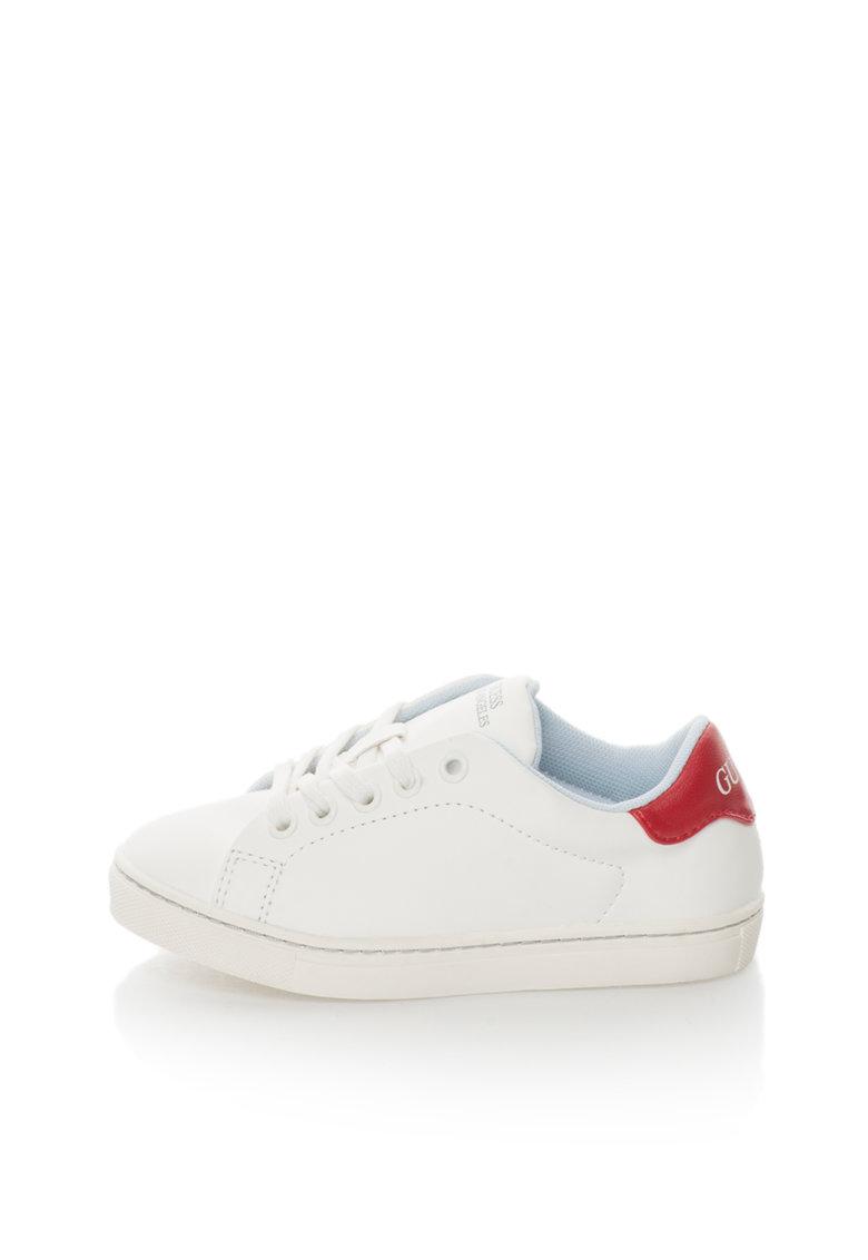 GUESS Pantofi sport albi de piele sintetica cu detaliu rosu