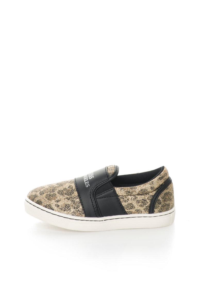GUESS Pantofi slip-on auriu si negru cu particule stralucitoare