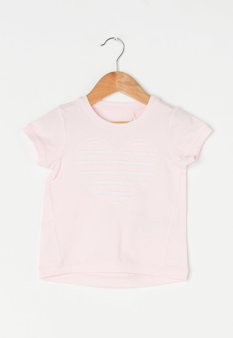 Esprit Tricou roz pal cu detaliu in forma de inima