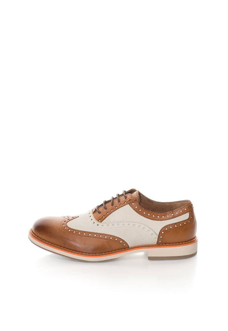 Pantofi brogue maro coniac cu bej de piele Robert