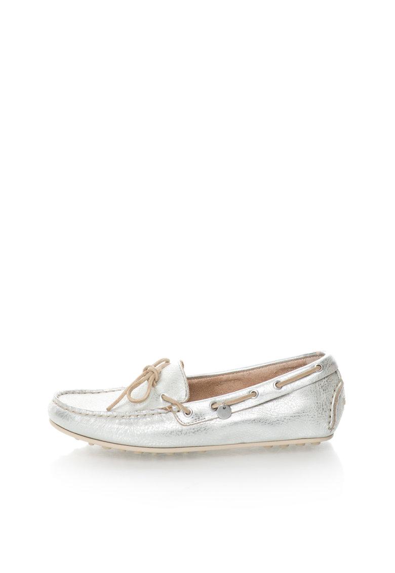 Pantofi loafer argintii de piele Montauk