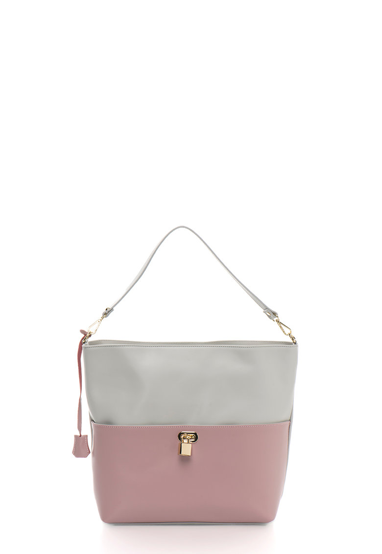 Zee Lane Collection Geanta shopper gri cu roz de piele