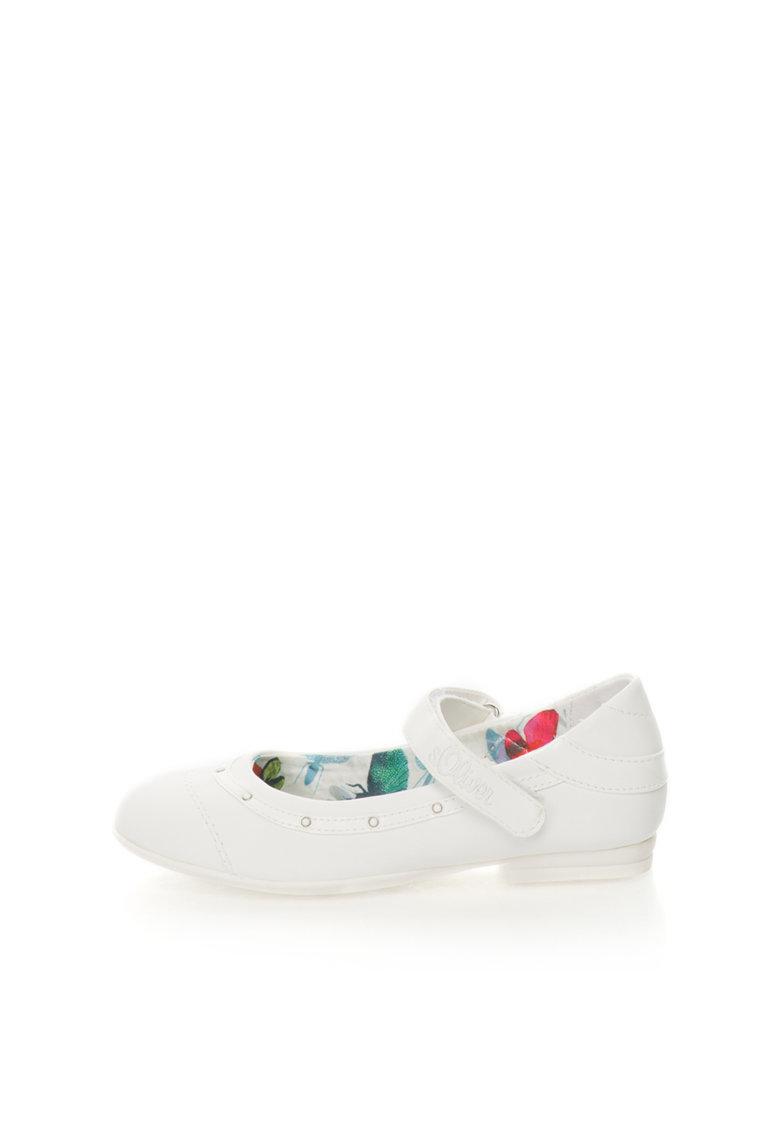 SOliver Pantofi Mary-Jane albi de piele sintetica cu margele