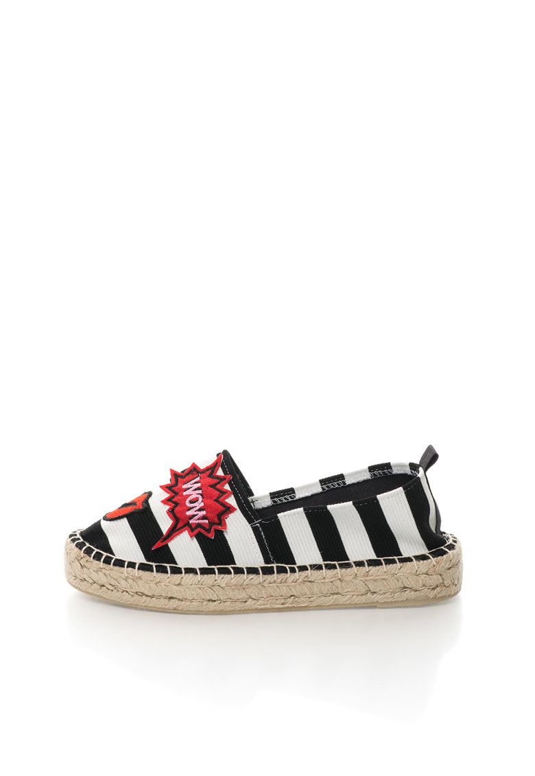 Colors of California Espadrile negru si alb in dungi cu aplicatii decorative