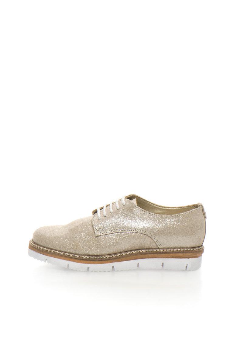 Zee Lane Pantofi derby wedge aurii de piele intoarsa stralucitori