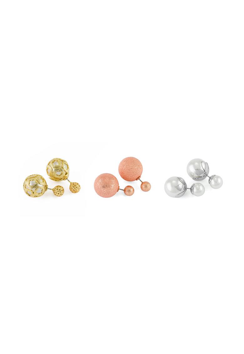 Pierre Cardin Set de cercei multicolori cu doua sfere – 3 perechi