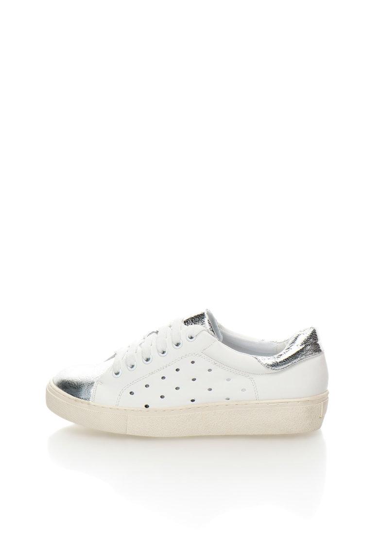 Francesco Milano Pantofi sport alb cu argintiu