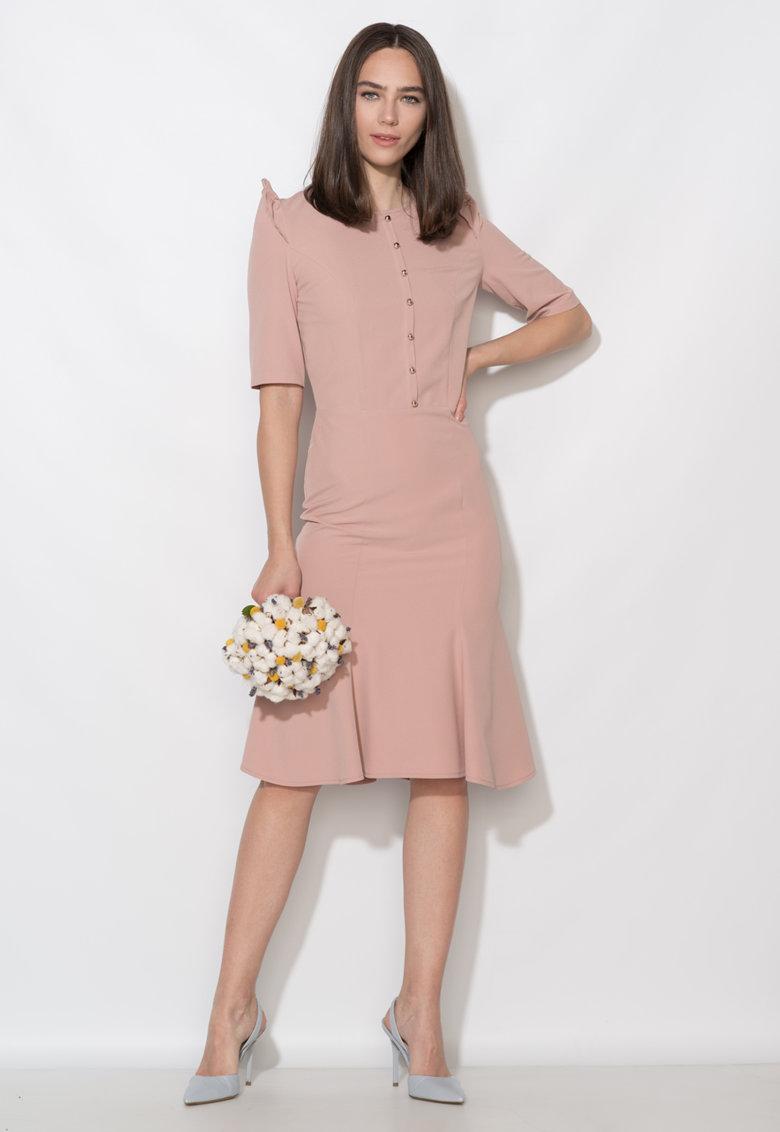 Zee Lane Collection Rochie midi roz prafuit cu nasturi aurii