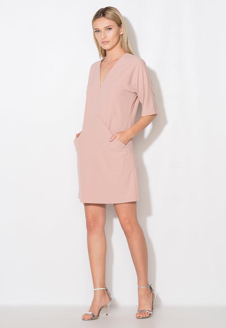 Zee Lane Collection Rochie roz prafuit cu buzunare drapate