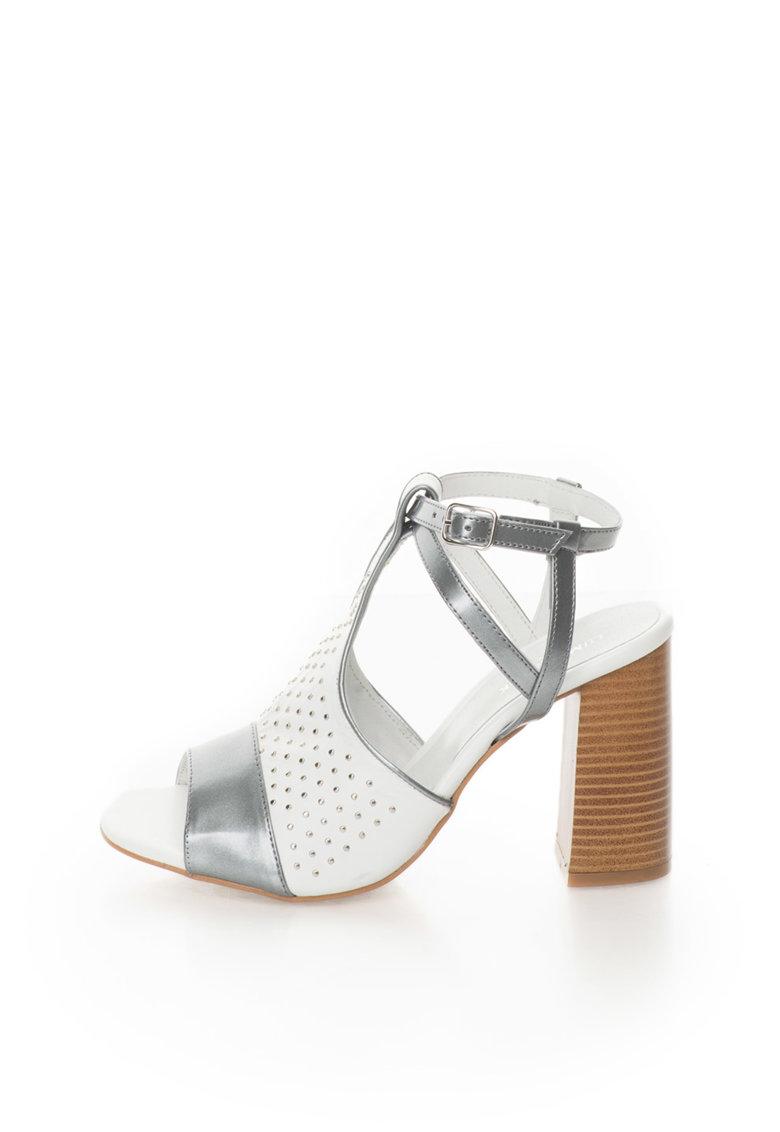 Sandale alb si argintiu cu nituri metalice