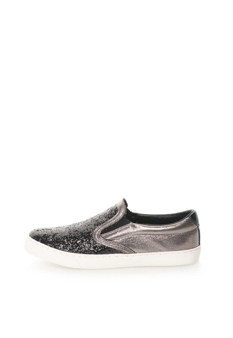 Pantofi slip-on stralucitori negru cu gri hematit Sonia