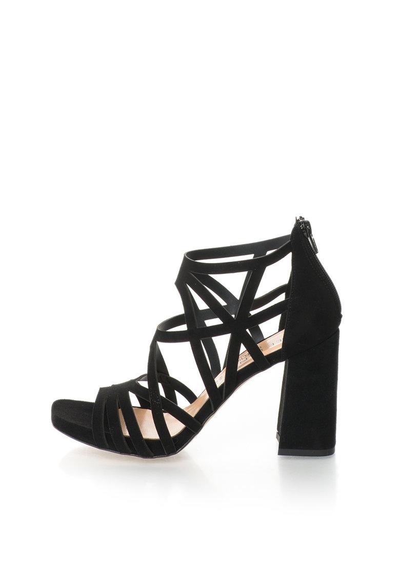 Sandale negre de piele intoarsa cu toc masiv de la Zee Lane Collection
