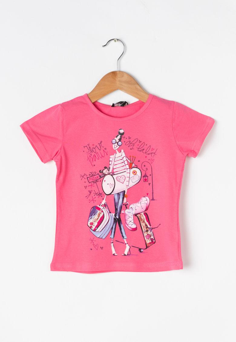 Zee Lane Kids Tricou roz cu imprimeu multicolor si strasuri