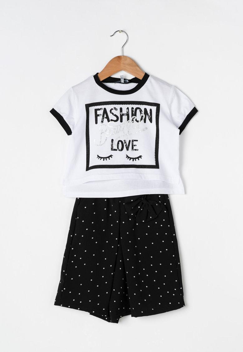 Zee Lane Kids Set alb si negru de tricou si fusta-pantalon cu buline